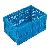 WALTHER Faltbox aus Polypropylen - Inhalt 60 l, ohne Deckel - blau, Ausführung durchbrochen - Faltbox Klappbox Lagerkasten Stapelkasten aus Kunststoff Transport-Behälter Transportkiste aus Kunststoff Stapelkisten Stapelkisten