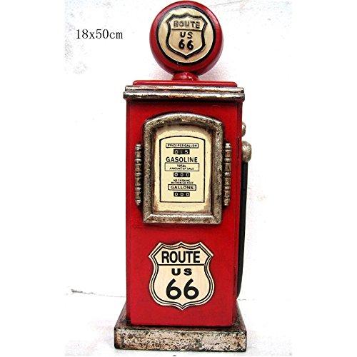"""Retro Vintage Schrank CD-Regal """"Route 66"""" Zapfsäule - rot"""