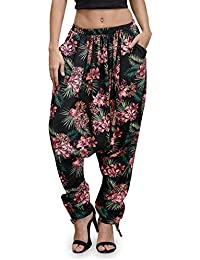 The Gud Look Women's Black Floral Harem Pant