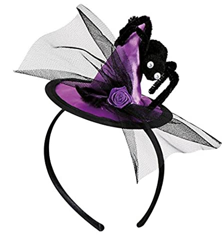 Minihut Haarreif Hexe Hexenhut mit großer Spinne und Tüll lila Halloween