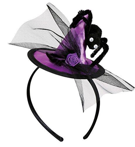 Minihut Haarreif Hexe Hexenhut mit großer Spinne und Tüll lila Halloween (Hexer Und Hexen Kostüme)