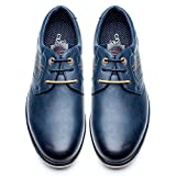 Casual Oxford Derby Schuhe fur Herren - Formal PU Lederschuhe Herren, Die Beste Wahl für Business-Casual SS002-BLUE-44