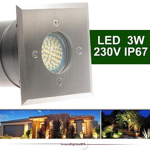 1x Bodeneinbauleuchte TIERRA 1 PLUS eckig SMD LED 3,3W = 35W Warm-Weiß 230V IP67 Einbaustrahler Wegeleuchte Garten außen; inkl. austauschbarem Leuchtmittel
