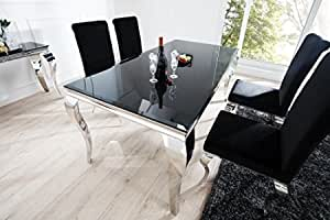 Casa Padrino Dining Set Black Silver Dining Table 200 Cm 4 Chairs Quality Modern Baroque Amazon Co Uk Kitchen Home
