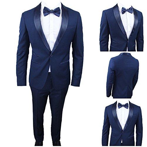 Moda classica abito uomo blu super slim smoking vestito elegante cerimonia comunione matrimonio (calza stretto 2 taglie in meno) (48)
