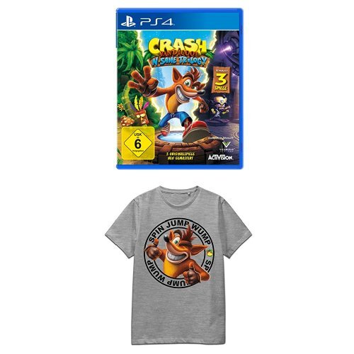 Crash Bandicoot N.Sane Trilogy - [PlayStation 4] +Crash Bandicoot T-Shirt Logo L