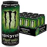 Monster Energy Rehab Green Tea mit Tee Extrakten & tropischen Säften - ohne Kohlensäure, 2in1 Energie Getränk & Eistee!, Energy Drink Palette, 12 x 500ml EINWEG Dose