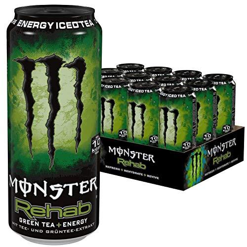 Energie-greens (Monster Energy Rehab Green Tea mit Tee Extrakten & tropischen Säften - ohne Kohlensäure, 2in1 Energie Getränk & Eistee!, Energy Drink Palette, 12 x 500ml EINWEG Dose)