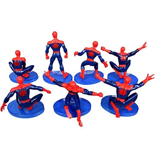 DUDDP Anime-Modelle, Erstaunliche Spider-Man Modell 7 Teile/Satz superheld Spielzeug Hand büro Modell Dekoration Junge Geschenk Kuchen Dekoration Anime-Spielzeug
