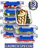 (8er-Set) Premium-Frischeboxen Glas-Set mit Deckel [LEBENSLANGE GARANTIE auf Deckel], Meal Prep Container BPA-frei, geeignet für Mikrowellen, Backöfen, Gefrierschränke, Geschirrspüler 710ml Volumen, rechteckig
