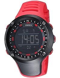 OHSEN Reloj De Deportivo De Hombre Mujer Electrónico Multifunción Cronómetro Impermeable Digital Con Calendario Alarma - Rojo