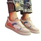 Tatis Shoes Flache Schuhe mit Kontrastnähten Damen Cross-Tied Canvas Lederschuhe Breathable Wild Sneakers Lässig und Bequem