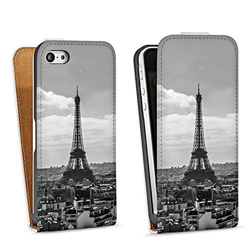 Apple iPhone 5s Housse étui coque protection Paris France Tour Eiffel Sac Downflip blanc
