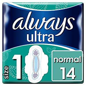 Always Ultra Normal Sanitary Towels with Wings Size 1, 14 Pads