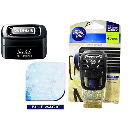 Debonair Combo - Scotch 35gm Premium Car/Home/Office Air Freshener Gel - Blue Magic& Ambi Pur Starter Kit 7. 5 ml - Vanilla Bouquet  available at amazon for Rs.570