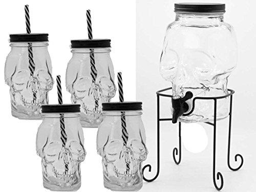 6tlg Set Getränkespender Mit Ständer Und 4er Set Trinkglas Deckel schwarz weiß Strohhalm Halloween ()