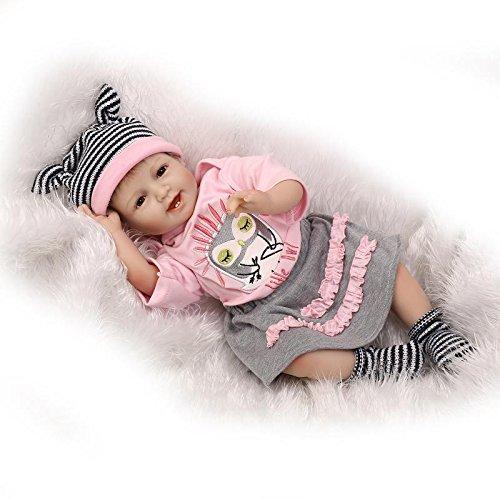 Nicery Reborn Bambola molle del bambino di simulazione del silicone vinile 22 pollici 55 centimetri magnetica Bocca realistica sveglia del giocattolo dei bambini smill principessa Gufo con gli occhi acrilico Regalo di Natale Reborn Doll