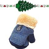 Handschuhe Longra, Niedliche Baby Jungen Mädchen Kleinkind verdicken heiße Gestrickte Winter-warmen Handschuhe(1 bis 4 Jahre) (Dark Blue)