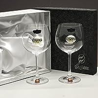 Set/Estuche de 2 Copas de Vino o Agua para Novios, Bodas de Plata
