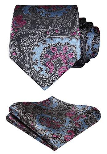 Hisdern Herren Krawatte Blumen Paisley Hochzeit Krawatte & Einstecktuch Set Blau & Pink & Grau -