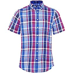 Gant Hombres camisa de tela escocesa de madras regular fit manga corta Color De Rosa XL