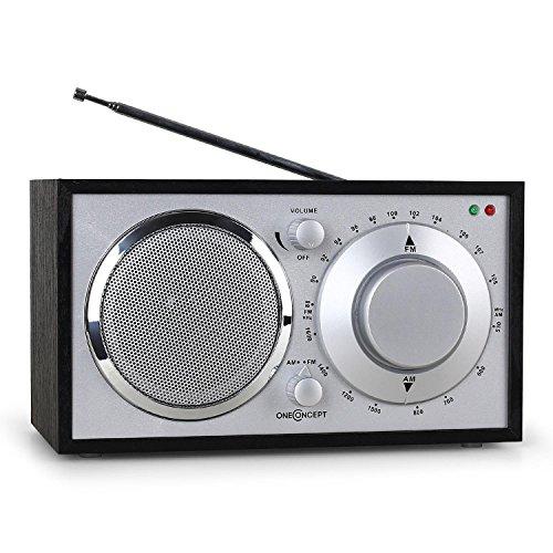 OneConcept Lausanne Boombox stereo radio vintage portatile (Tuner FM, AM, AUX, lavorazioni in legno pregiate) nera