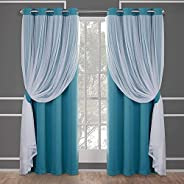 Goodern 2 Piece Curtains,Thermal Insulated Layered Solid Blackout Curtains for Bedroom & Living Room,Sheer