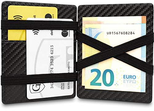 GenTo® Magic Wallet Vegas - TÜV geprüfter RFID, NFC Schutz - Dünne Geldbörse mit Münzfach - Geschenk für Damen und Herren mit Geschenkbox - erhältlich in 6 Farben | Design Germany (Carbon)