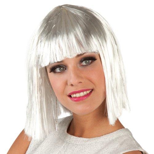 NEU Perücke Gigi glamour, weiß mit silberstreifen (Glamour Perücke Kostüm)