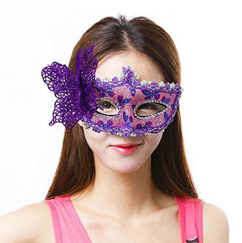 Veewon Elegante Frauen Venezianische Gesichtsmaske Gemalte Schmetterlingsdekoration Damen Mädchen Maskerade Masken für Halloween, Maskerade, Kostüm Party (Lila)