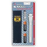 Mag-Lite M2A10H Mini Maglite AA Taschenlampe 14,5 cm silber inkl. 2 Mignon-Batterien und Nylonholster