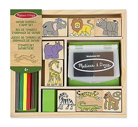 Melissa & Doug Wooden Stamp Set: Safari Animals - 9