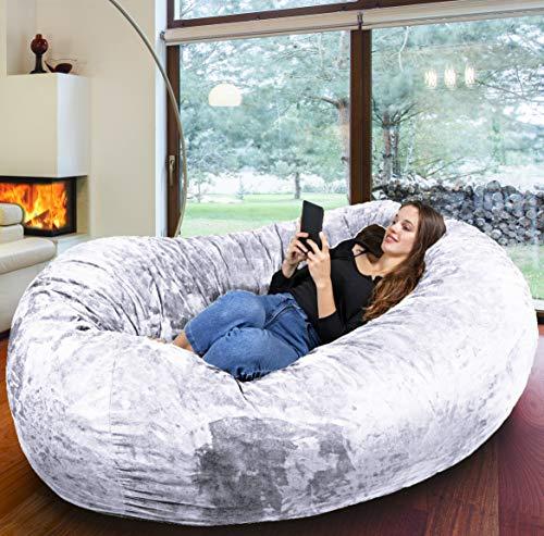 Der größte Sitzsack Europas - Riesiger Giga Sitzsack in Weiß mit 1500l Memory Schaumstoff Füllung und Waschbarem Bezug - Gemütliches Sofa, Riesen Bett, Bean Bag für Kinder und Erwachsene