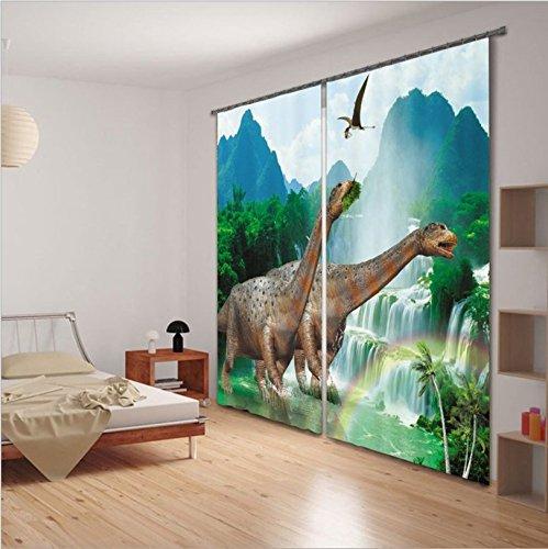 LB 2 paneles de sala de oscurecimiento cortinas opacas,impresión 3D efecto Dinosaurios ,cortinas ventana