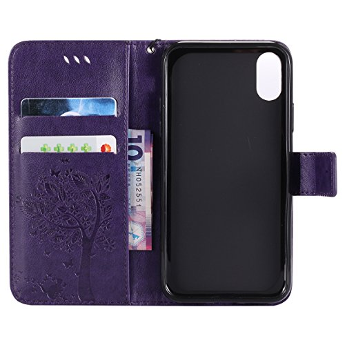 Custodia iPhone X, iPhone X Cover Wallet, SainCat Custodia in Pelle Flip Cover per iPhone X, Ultra Sottile Anti-Scratch Book Style Custodia Morbida Cover Protettiva Caso PU Leather Custodia Libretto A Porpora