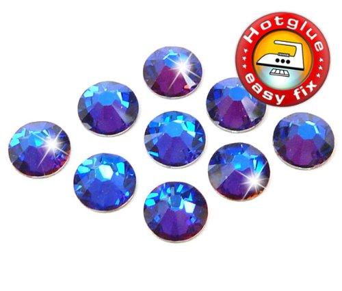 100 Stück SWAROVSKI ELEMENTS Hotfix, Crystal Meridian Blue, SS12 (Ø ca. 3,1 mm), Strasssteine zum Aufbügeln -