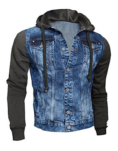 D&R Fashion Giacca Moda Uomo denim con cappuccio felpa in pile maniche Nero Grigio