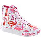 Lelli Kelly LK5090 (BA02) White Fantasy Flamingo Canvas Baseball Boots-35 (UK 2.5)