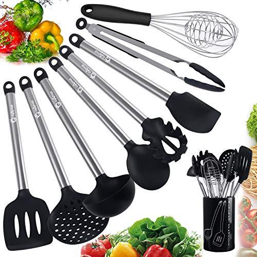 Goamz 9 pezzi utensili da cucina,set utensili cucina silicone antigraffio pentole professionali con porta, acciaio inox antiaderente resistente