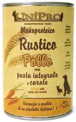 Lata de comida para gatos y perros, guiso de pollo, pasta integral y zanahoria, monoproteico, lata de 400 g