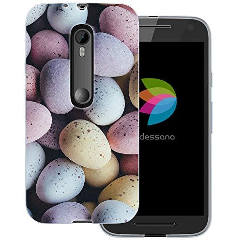 dessana Candy Süßigkeiten Transparente Schutzhülle Handy Case Cover Tasche für Motorola Moto G3 Oster Eier