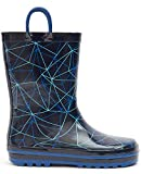 MOFEVER Toddler Boys Kids Rain Boots Rubber Waterproof Shoes Printed Lovely Blue Geometry Cute Print with Easy On Handles (Size 7Blue)