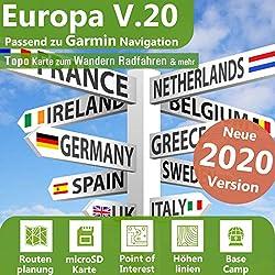 Europa Profi Outdoor Topo Karte - Topografische Outdoor Freizeitkarte für Garmin GPS Navigation - Zum Wandern, Radfahren, Wandern, Touren, Trekking, Geocachen, Sport & mehr