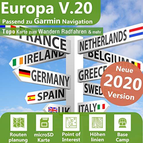 Europa V.20 - Profi Outdoor Topo Karte passend für Garmin Edge 520, Edge 800, Edge 810, Edge 820, Edge 1000