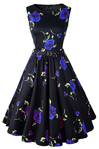 jeansian Damen Flower Printing Sleeveless Skater Swing A Line Pleated Dresses Summer Evening Party Dress WHS204 Blue