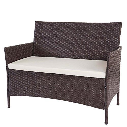 mendler serie halden per l'esterno divano sofa 2 posti polyrattan marrone con cuscino avorio