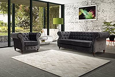 Lovesofas Belgravia Chesterfield 3 2 1 Seater Sofa Suite Variations - Amos Dark Grey by Lovesofas
