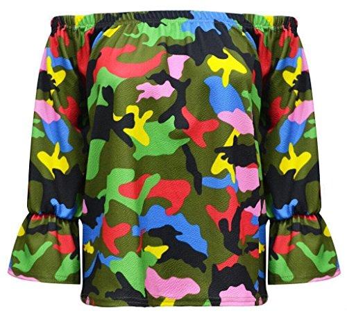 Janisramone -  Maglia a manica lunga  - Maniche a 3/4 - Donna Multi Colour Camouflage