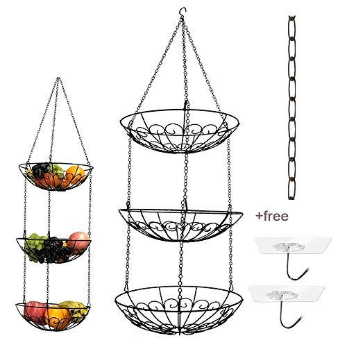 Obstkorb mit 3 Etagen, aus Draht, mit schwarzer Kettenverlängerung und Zwei Deckenhaken, ideal für Obst, Gemüse, Snacks, Haushaltsgegenstände, etc. - 3 Regal, Chrom-draht