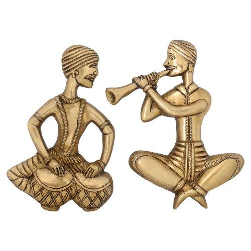 Indian DÃ © cor Wand Messing Musiker Figurine Spielen Tabla und Shehnai 20,32 cm